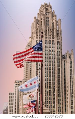 A line of flags in front of classic Chicago skyscraper