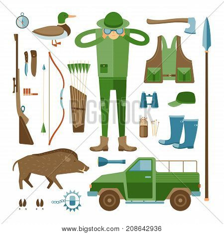 Hunter s collection on white isolated background. Vector set of hunting accessories. Cartoon illustration with a hunter, car, duck, wild boar, clothes and a weapon in a flat style.