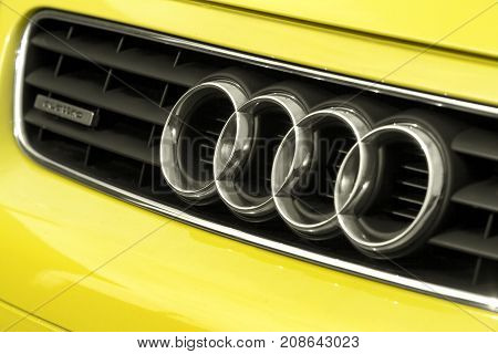 Zamosc Poland. 4 October 2017: Close up of the logo of Audi a3 on the car front. Audi is a member of the Volkswagen Group.