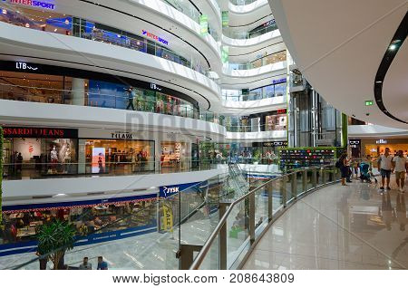 TIRANA ALBANIA - SEPTEMBER 6 2017: Unknown people visit large modern shopping center Toptani Tirana Albania