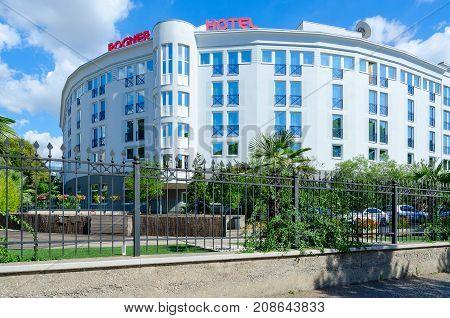 TIRANA ALBANIA - SEPTEMBER 6 2017: Hotel Rogner on boulevard of Martyrs in center of city of Tirana Albania