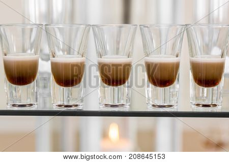 Catering Services. Celebration. Glasses With Alcohol Placed On The Glass