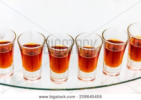 Catering Services. Celebration. Glasses Red Alcohol Placed On The Glass