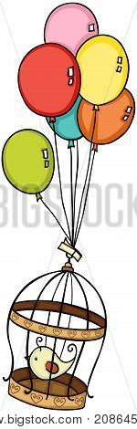 Scalable vectorial image representing a bird in cage flying with balloons, isolated on white.