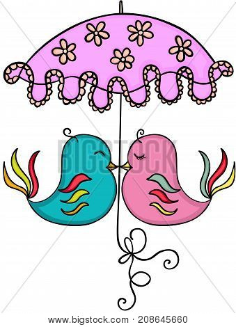 Scalable vectorial image representing a couple birds with umbrella, isolated on white.