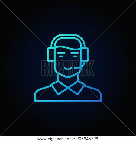 Customer support and service blue icon. Vector man in headset symbol in thin line style on dark background