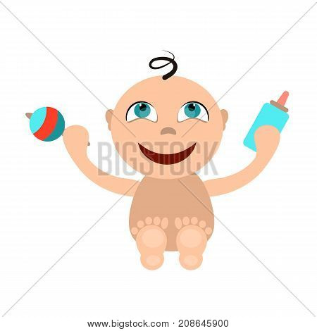 baby with a rattle and bottle cartoon