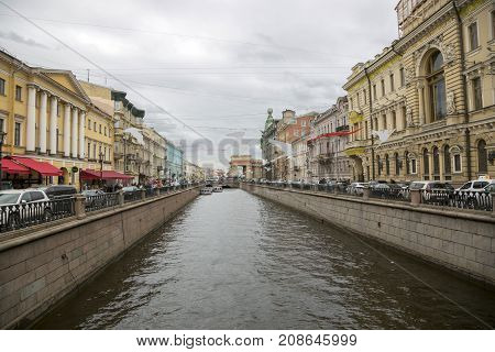 SAINT PETERSBURG, RUSSIA, MAY 06, 2017: View of the Griboyedov Canal from the Italian Bridge in St. Petersburg