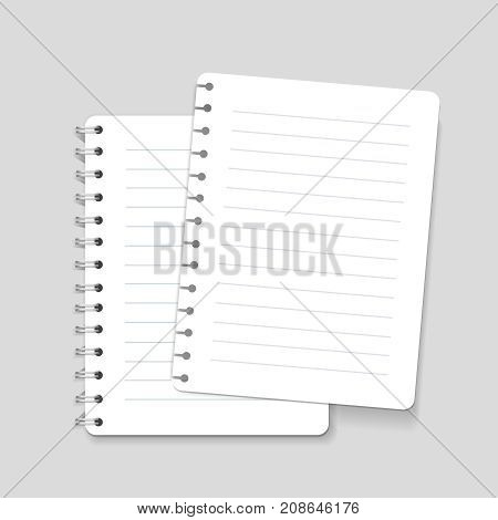 Realistic spiral lined blank notebook page isolated illustration