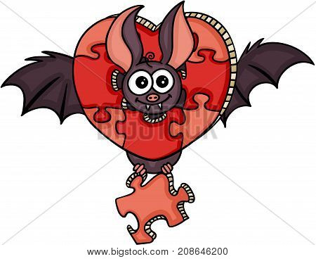 Scalable vectorial image representing a happy bat with heart shaped puzzle, isolated on white.