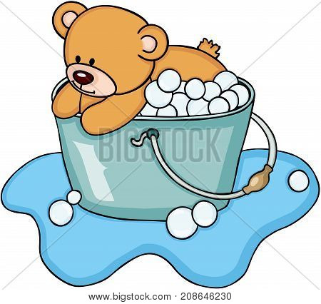 Scalable vectorial image representing a teddy bear taking a bubble bath, isolated on white.