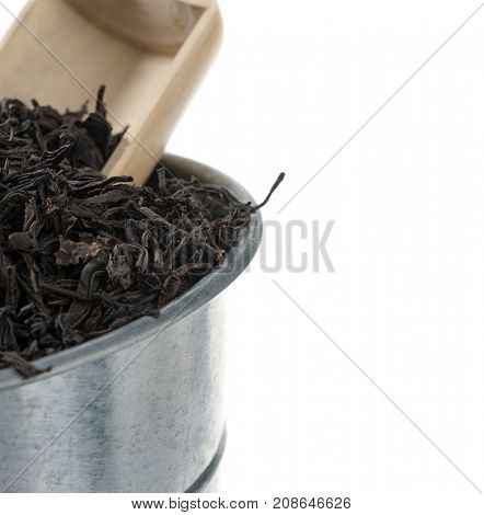 Black Tea in Bucket with Copy Space