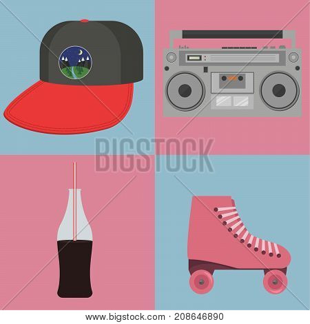 Retro objects from the eighties on a blue and pink background