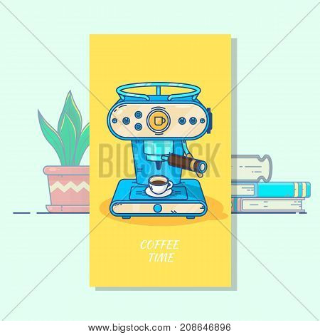 Coffee machine with a hot coffee cup.Retro style coffee maker in Line Art Flat Design