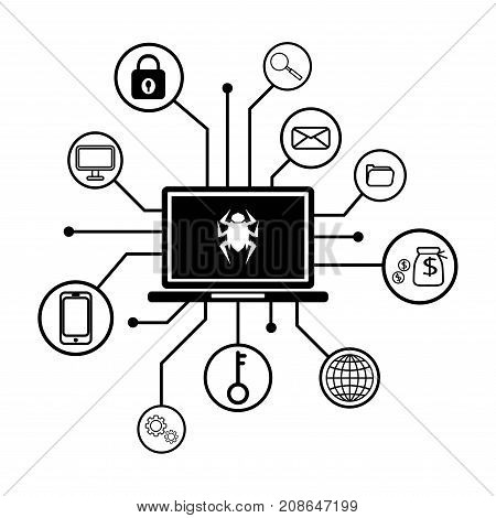 malware attack. ransom malware name is wanna cry,  cyber virus attack the world, Ransom ware virus encrypted lock file and show for  payment, vector illustration.