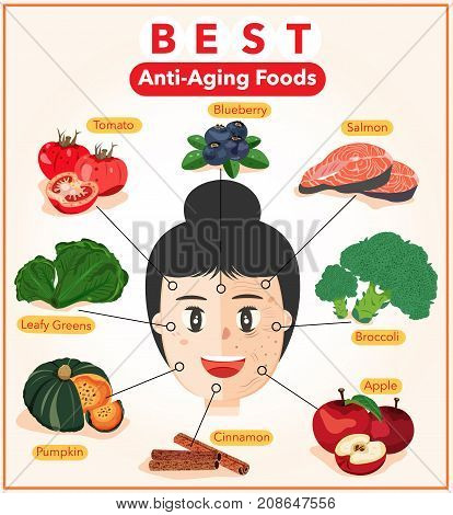 Best Anti-Aging Foods Infographic with Half Young and Half Wrinkle Lady Smiling Face Illustration Vector