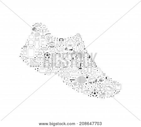 Sneakers made of doodles sport icons, sport shoes, running shoe consists of sport activities objects