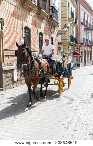 SEVILLE ANDALUSIA SPAIN - OCTOBER 01 2017: typical old carriage drawn by a horse on a tour to Seville. A spanish horse carriage in city street