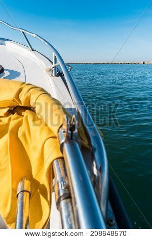 View from a boat on the ocean. Exotic summer holiday trip voyage
