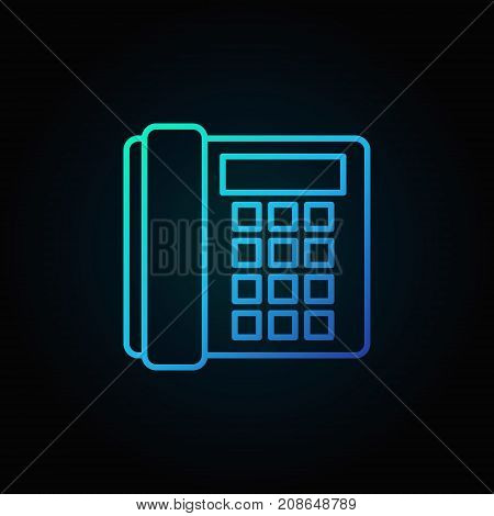 Landline phone blue icon - vector old telephone concept outline symbol or logo element on dark background