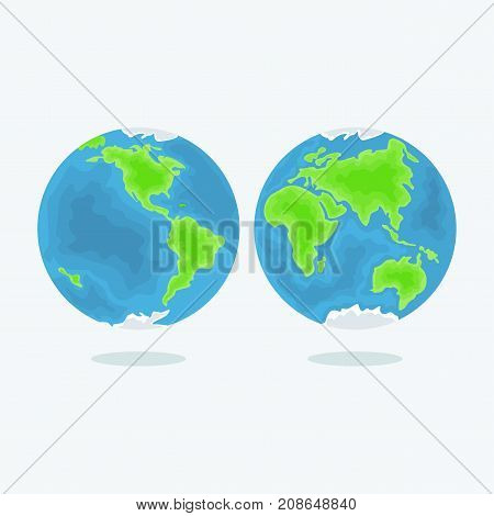 Planet earth vector icon. Flat vector cartoon illustration. Objects isolated on white background.