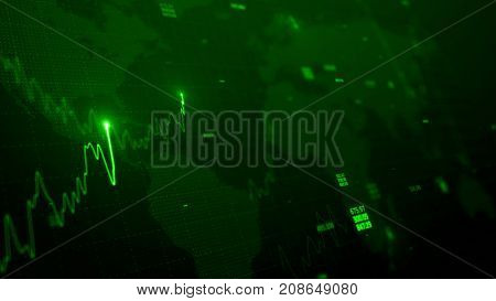 3d render. Statistic graph of stock market data and financial analysis. Stock market graph. Financial statistical analysis on green background with growing charts. Big data on LED panel.