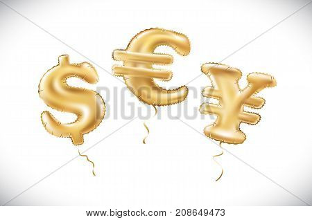 Vector Gold Dollar Euro Yen Symbol Alphabet Balloons, Money And Currency, Golden Number And Letter B