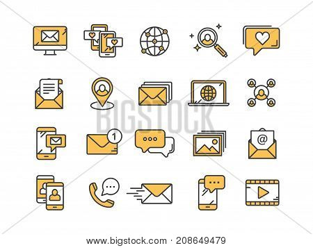Communication. Social media. Online chatting. Phone call, app messenger. Mobile, smartphone. Computing.Email. Thin line yellow web icon set. Outline icons collection. Vector illustration.