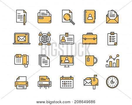 Business and office work. Documents, paperwork. Businessman. Thin line yellow web icon set. Outline icons collection. Vector illustration.