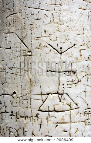 Inscriptions Of Pilgrims On An Ancient Pillar Of Church Of The Holy Sepulcher