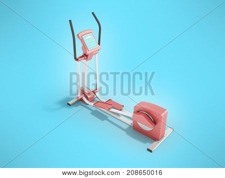 Pristine Elliptical Trainer Home Pink 3D Rendering On Blue Background
