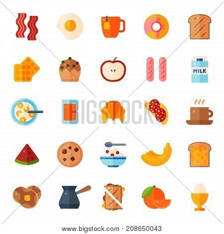 Breakfast healthy food meal icons drinks flat design bread egg lunch healthy meat menu restaurant vector illustration. Cooking fruit kitchen utensils breakfaster snack.