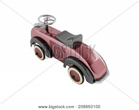 Machine Pusher For Children 3-6 Years Old Red Perspective Back 3D Render On White Background No Shad