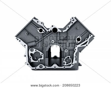Cylinder Block From Car With V6 Engine 3D Render On A White Background No Shadow
