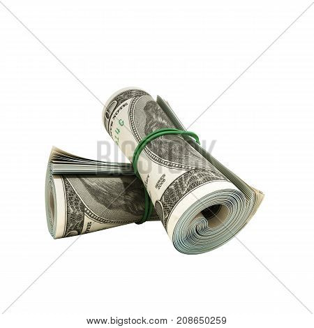 Money Hundred Dollars Bill Rol Colection 3D Render On White No Shadow