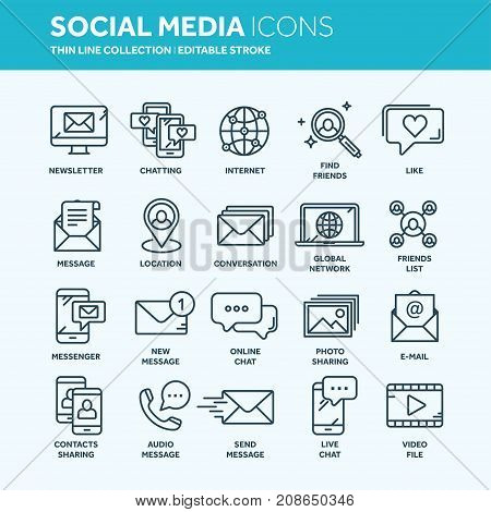 Communication. Social media. Online chatting. Phone call, app messenger. Mobile, smartphone. Computing.Email. Thin line web icon set. Outline icons collection. Vector illustration.