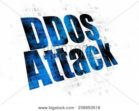 Safety concept: Pixelated blue text DDOS Attack on Digital background