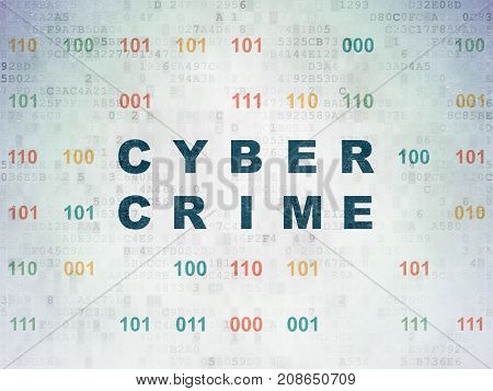 Privacy concept: Painted blue text Cyber Crime on Digital Data Paper background with Binary Code
