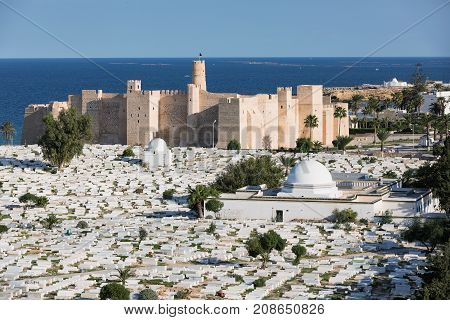 Aerial view on Cemetery Sidi el-Mezeri and The Ribat in Monastir is nearly 1200 years old in Monastir. Tunisia