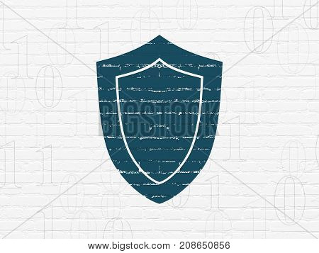 Safety concept: Painted blue Shield icon on White Brick wall background with  Binary Code
