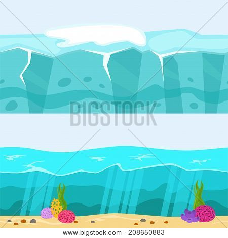Cross section of sea water ecology natural geologist underwater background landscape river vector illustration. Global outdoor ocean surface waves piece.