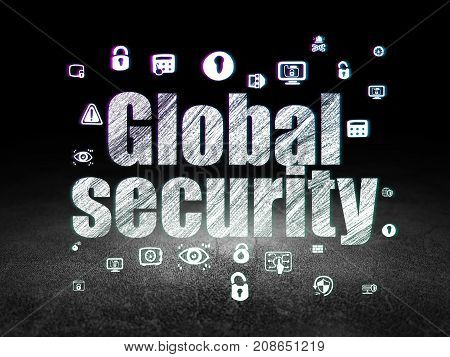 Privacy concept: Glowing text Global Security,  Hand Drawn Security Icons in grunge dark room with Dirty Floor, black background
