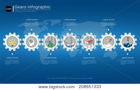 Gears infographic template for business presentation, Strategic plan to define company values, Can be used for scheduling in project management to mark specific points along a project timeline.
