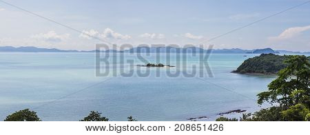 Panorama view of Phang-Nga bay with very small islands view from Cape Yamu Phuket Thailand. It is at east coast of Phuket that is very calm and quite side.
