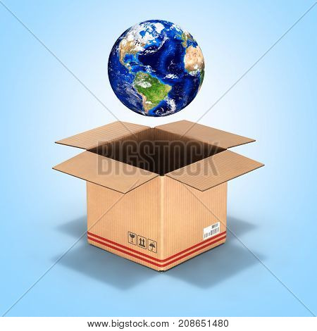 Earth In A Cardboard Box On Blue Gradient Background 3D