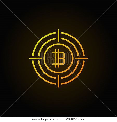 Bitcoin in crosshair outline icon. Vector colorful cryptocurrency concept linear sign on dark background