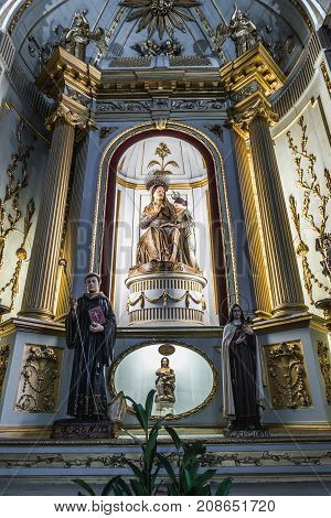 Porto Portugal - December 9 2016: Bye-altar in Congregates Church also know as Church of Saint Anthony in Porto city Portugal