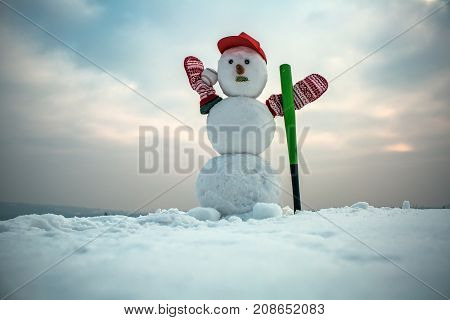Snowman With Baseball Bat.