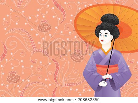 Japanese Geisha girl wearing kimono on pink pattern-background