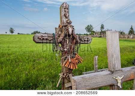Wooden crosses on site of pilgrimage called Hill of Crosses Lithuania